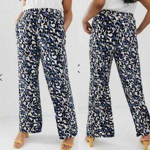 Simply Be Jersey Leopard Wide Leg Pants
